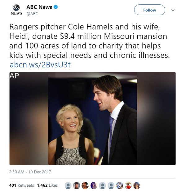cole hamels wife donate mansion to charity twitter