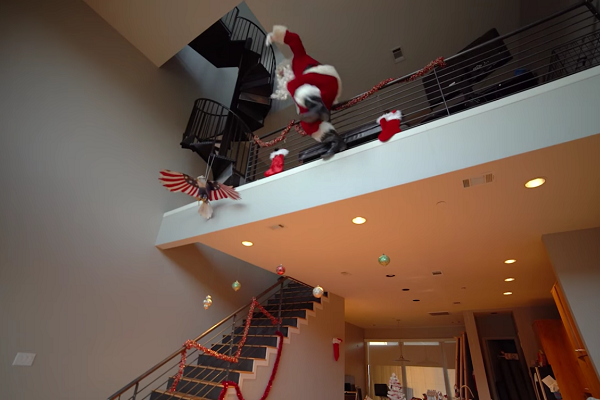 santa jumping over railing