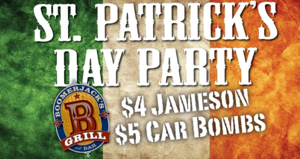 St.Patrick Day Party $4 dollar jameson $5 Car Bombs with Irish Flag background