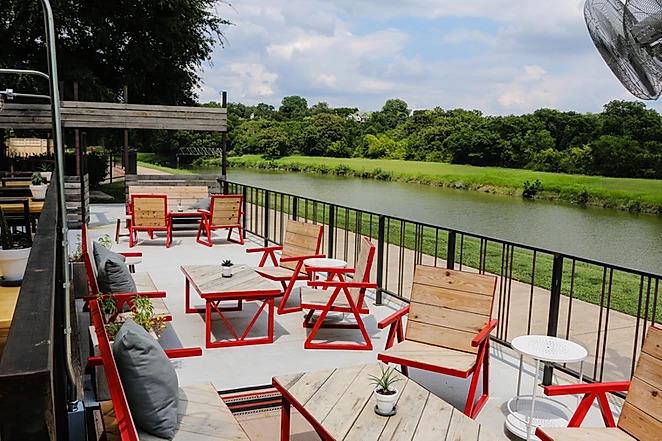 outdoor patio next to lake