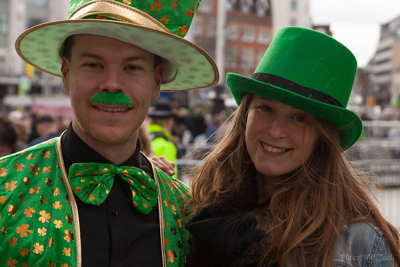 two people wearing green st. Patrick's day outfits